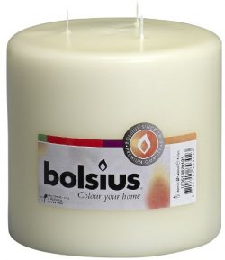 Bolsius 3 WICK Ivory Pillar Candle 150X150 mm Aprox 6X6 Inch Long Burning Candle