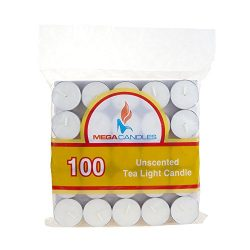 Mega Candles – Unscented Tea Light Candles – White, Set of 100
