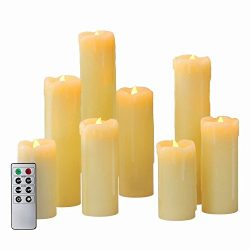 8 Ivory Slim Drip Flameless Candles with Warm White LEDs, Assorted Sizes, Remote and Batteries I ...