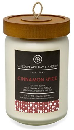 Chesapeake Bay Candle Heritage Collection Large Glass Jar Scented Candle with Lid, Cinnamon Spice
