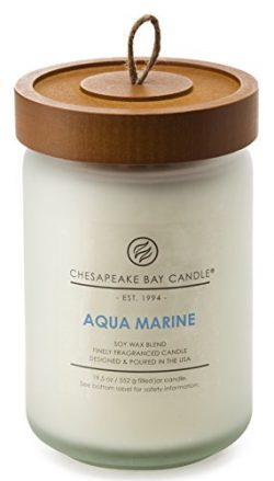 Chesapeake Bay Candle Heritage Collection Large Glass Jar Scented Candle with Lid, Aqua Marine