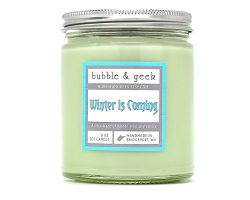 "Bubble and Geek ""Winter is Coming"" Scented Soy Candle, vanilla, garden mint, 8 oz Ja ..."