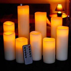 Ry-king 4″ 5″ 6″ 7″ 8″ 9″ Pillar Flickering Flameless LED Ca ...