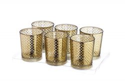 V-More Laser Cut Mercury Glass Votive Candle Holder Tealight Holder 2.55-inch Tall Set of 6 For  ...