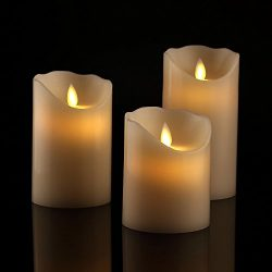 Flameless Candles 4″ 5″ 6″ Set of 3 Ivory Dripless Real Wax Pillars Include Re ...
