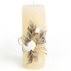 3″ x 7.6″ Ivory Pillar Candle Handmade Linen Decoration Unscented for Mother's ...
