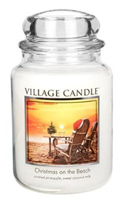 Village Candle Christmas on the Beach 26 oz Glass Jar Scented Candle, Large