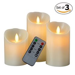 Mlife Dancing Flame Led Candles with Timer (10 Key Remote Controlled Led Wax Pillar Candles with ...