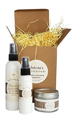 Victoria's Lavender ORGANIC ALL NATURAL BUG REPELLENT SET Includes Candle, 4oz Spray, Trav ...