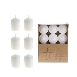 Mega Candles – Unscented 15 Hours Votive Candles – White, Set of 12