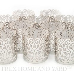 FLAMELESS TEA LIGHT VOTIVE WRAPS- 48 Silver colored laser cut decorative wraps for Frux Home and ...