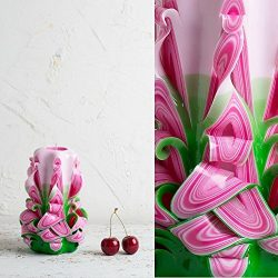 Premium Pink and Green Handmade Decorative Carved Candle – Mother's Day Gift – ...