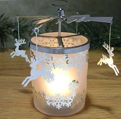 Frosted Glass Spinning Candle Holder – Reindeer Charms with Snowflake Designs Spin Around  ...