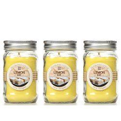 Bulk Buy. Hosley's Set of 3, Lemon Bar Scented Mason Jar Candles 11oz Each. Ideal votive G ...