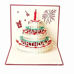 Handmade 3D Pop up Greeting Birthday Cake with Candle for Birthday Valentine Day Mother Day