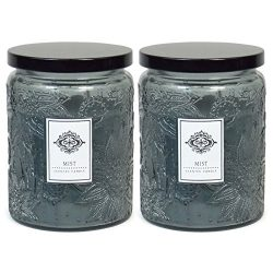 2 Aromatherapy Scented Candles – Mist – Two 16 Ounce Glass Mason Jar Candles with a  ...