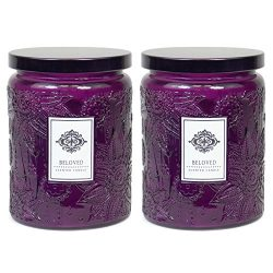 2 Aromatherapy Scented Candles – Beloved – Two 16 Ounce Glass Mason Jar Candles with ...