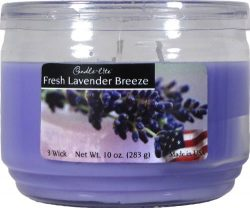 Candle-lite Essentials 3-Wick 10-Ounce Terrace Jar Candle, Fresh Lavender Breeze