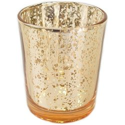 Just Artifacts Mercury Glass Votive Candle Holder 2.75″H (12pcs, Speckled Gold) -Mercury G ...