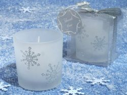 Winter Wonderland Frosted glass votive candle. [SET OF 48]