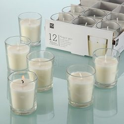 Hosley Set of 24 Unscented Clear Glass Wax Filled Votive Candles, Up to 12 Hour Burn Time. Glass ...
