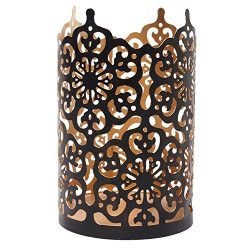 Hosley's Flower 7″ High Cut Bronze Candle Holder & Lantern. Ideal for Use with H ...