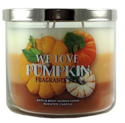 Bath & Body Works Home We Love Pumpkin Fragrance Trio Candle 3 Wick 14.5 Oz Limited Edition  ...