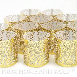 FLAMELESS TEA LIGHT VOTIVE WRAPS- 48 Gold colored laser cut decorative wraps for Frux Home and Y ...