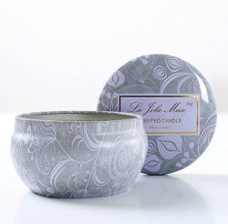 Scented Candles Blue Lotus Candle Soy Wax, 8.1oz Aromatherapy Stress Relief Travel Tins, Fresh a ...