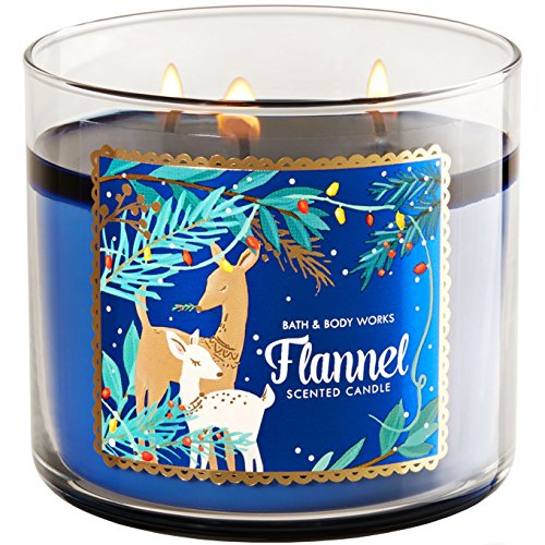 Bath And Body Works Flannel 14.5 Ounce 3 Wick Blue Candle