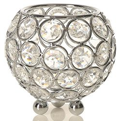 VINCIGANT Silver Decorative Crystal Tealight Candle Holders for Wedding Table Centerpieces Birth ...