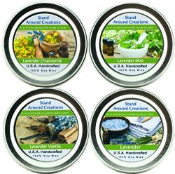 Set of 4- Premium 100% All Natural Soy Wax Aromatherapy Candle Tins: Lavender, Lavender Chamomil ...