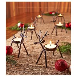 Reindeer Tealight Candle Holders Metal – Set of 6 – Best for Christmas Holiday
