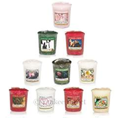 Yankee Candle – Christmas Holiday Votive Samplers- Set of 10 – Includes Free Votive  ...