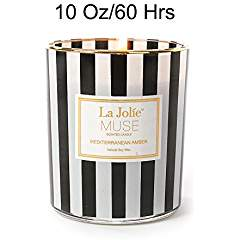 Mediterranean Amber Candle Scented Soy Wax, 10 OZ, Aromatherapy Stress Relief Candle, Gifts for Men