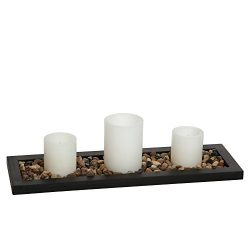 Hosley's Flameless LED Candle Gift Set – Set of 3 Pillar Candles, Decorative Pebbles ...