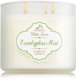 Bath & Body Works White Barn Eucalyptus Mint Scented 3 Wick Candle 14.5 oz./411 g
