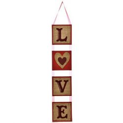 Burlap LOVE Hanging Wall Decorations, 24 in.
