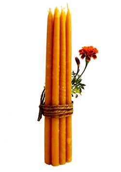 100% Beeswax 2-hour Candles Organic Hand Made – 7 3/4″ Tall, 3/8 Thick (Pack of 12)