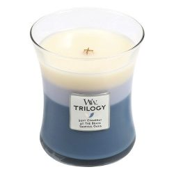 Woodwick Beachfront Cottage Trilogy Jar Candle, Medium