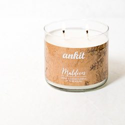Ankit Natural Maldives Scented with 14 oz Long Lasting Soy Wax Luxurious Glass Jar 2 Wick Wax Ca ...