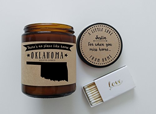 Oklahoma Scented Candle Missing Home Homesick Gift Moving Gift New Home Gift No Place Like Home  ...