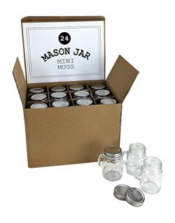 Mason Jar 4 Ounce Mugs – Set of 24 Glasses With Handles And Leak-Proof Lids – Great  ...