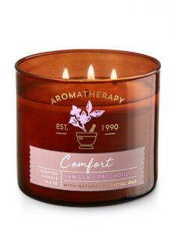 Bath & Body Works Aromatherapy Comfort Vanilla & Patchouli Candle 3 Wick 14.5 oz./411 g