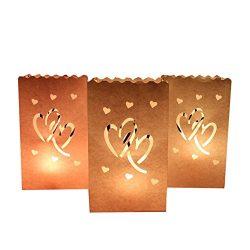 AerWo 50 Pieces Double Heart Tea Light Holder Luminaria White Paper Lantern Candle Bag Wedding P ...