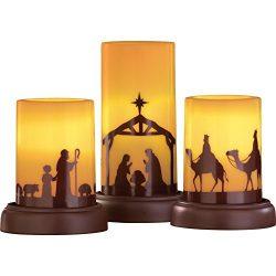 LED Flameless Nativity Candles – Set of 3
