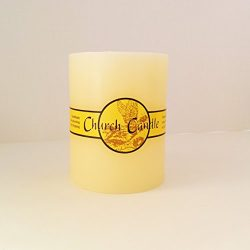 The 6″ Tall Church Candle with Angel Label, 3 100% Cotton Wicks, Cream Color Wax, Lead Fre ...