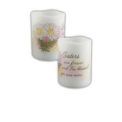 "Carson 4″ Flameless Vanilla Scented Flicker Candle ""Sisters are Forever…"""