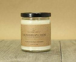 Almond and Vanilla Aromatherapy Essential Oil Scented Soy Candle 9oz Jar