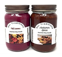 Autumn Candles, Autumn Spice & Fall Leaves (2 Pack, 16 Oz.)